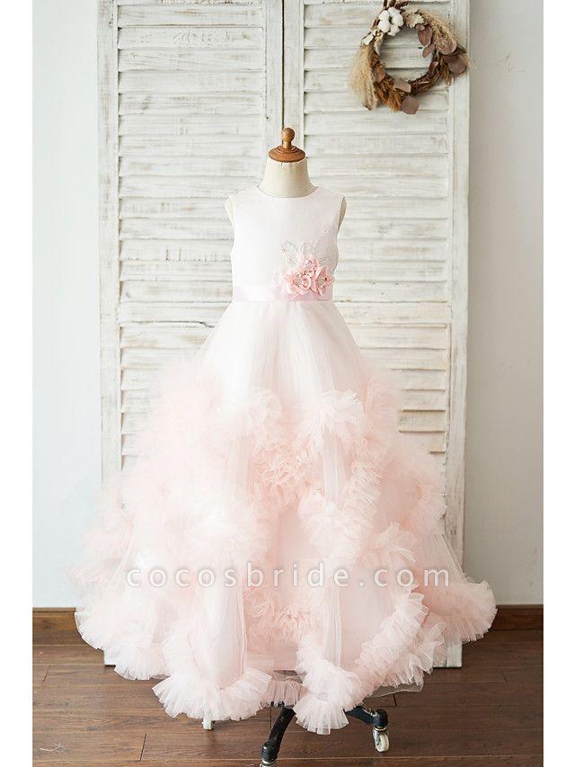 Princess / Ball Gown Floor Length Wedding / Birthday Flower Girl Dresses - Tulle Sleeveless Jewel Neck With Sash / Ribbon / Bow(S) / Flower