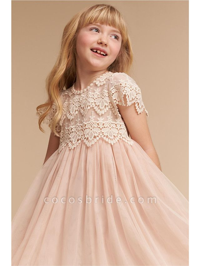 A-Line Knee Length Wedding / Party Flower Girl Dresses - Lace / Tulle Cap Sleeve Jewel Neck With Solid