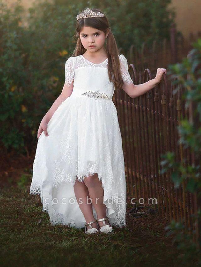 A-Line Asymmetrical Wedding Flower Girl Dresses - Satin / Taffeta / Tulle Short Sleeve V Neck With Sash / Ribbon / Tier / Solid