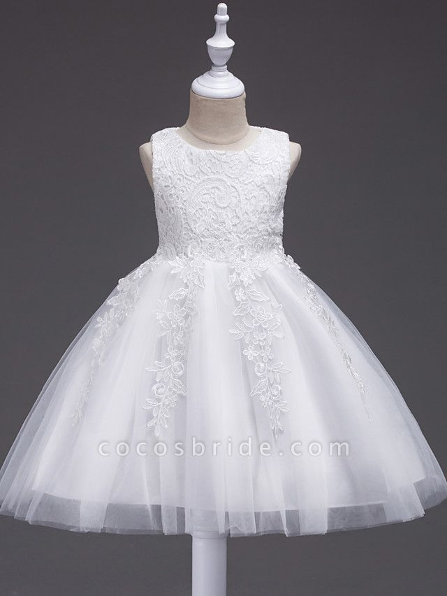 Princess Midi Wedding / First Communion / Birthday Flower Girl Dresses - Lace / Tulle Sleeveless Jewel Neck With Lace / Bow(S) / Appliques