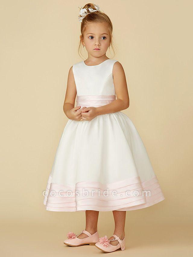 A-Line Tea Length Wedding / First Communion Flower Girl Dresses - Satin Sleeveless Jewel Neck With Sash / Ribbon / Bow(S)