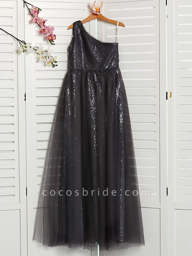 A-Line One Shoulder Maxi Tulle Junior Bridesmaid Dress With Beading