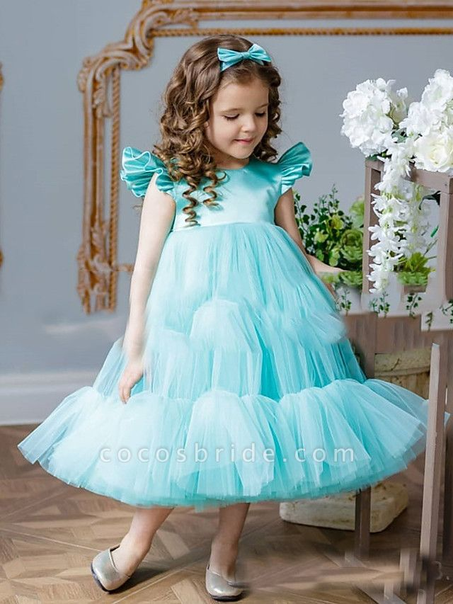 Princess / A-Line Floor Length Party / Birthday Flower Girl Dresses - Satin / Tulle Short Sleeve Jewel Neck With Cascading Ruffles / Splicing