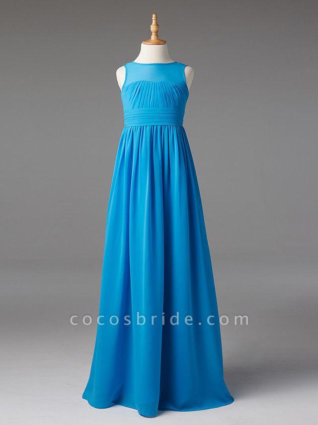 Princess / A-Line Jewel Neck Floor Length Chiffon Junior Bridesmaid Dress With Sash / Ribbon / Pleats
