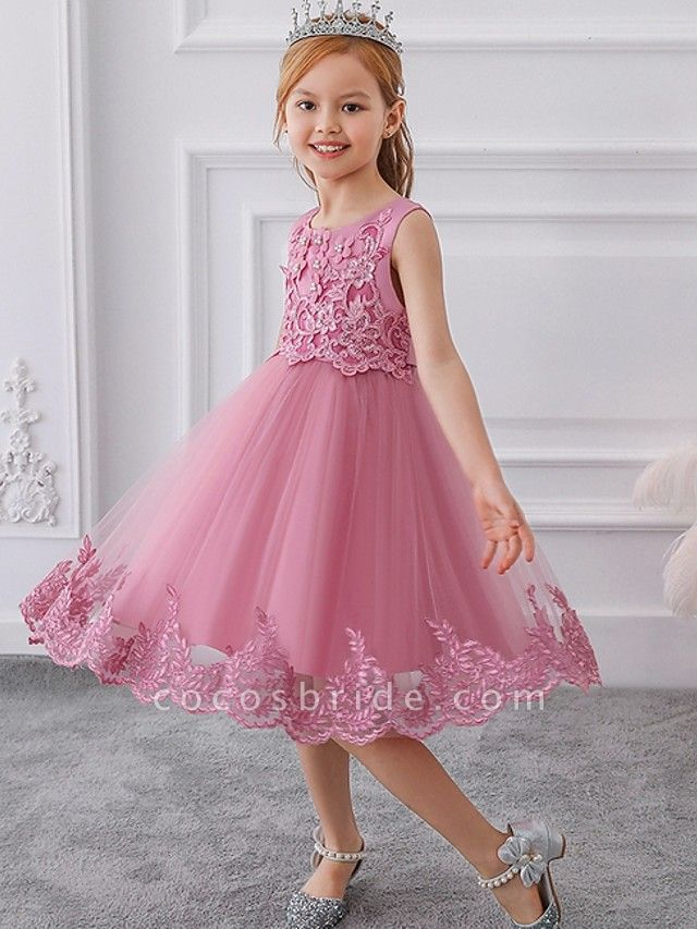 Ball Gown Knee Length Wedding / Party Flower Girl Dresses - Tulle Sleeveless Jewel Neck With Bow(S) / Appliques