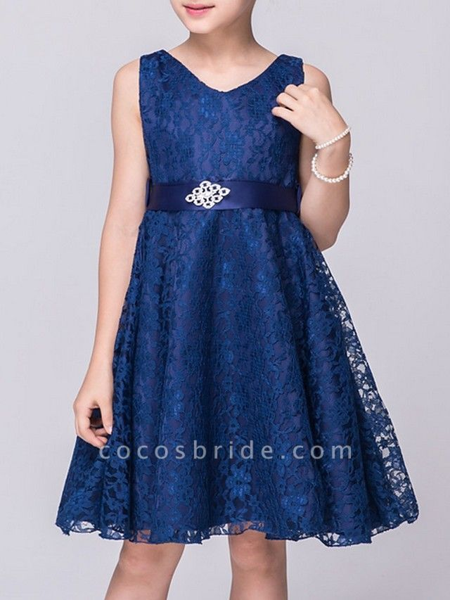 A-Line V Neck Knee Length Lace Junior Bridesmaid Dress With Sash / Ribbon