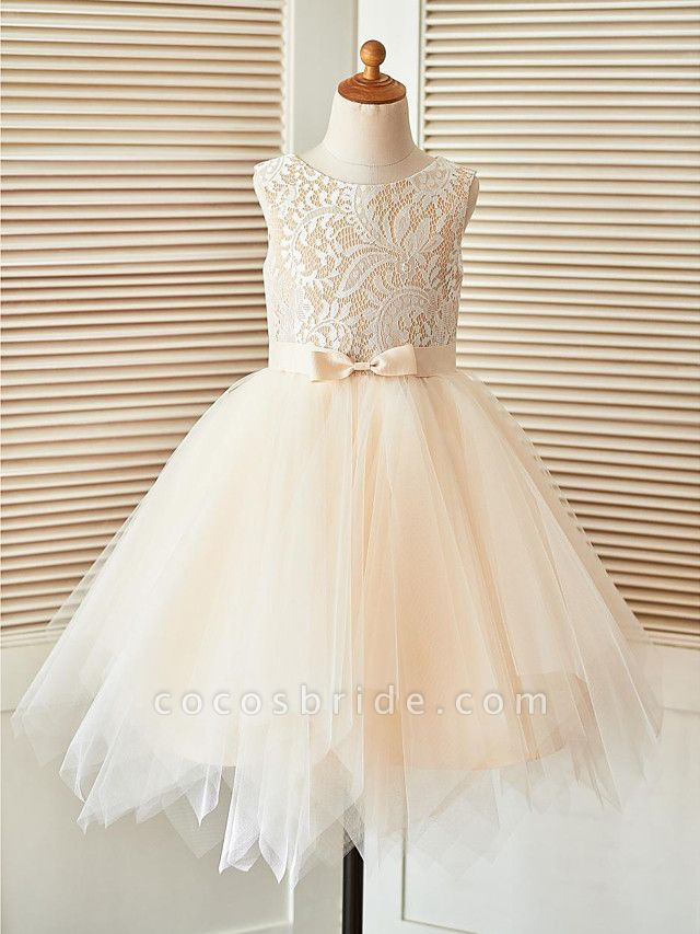 A-Line Knee Length Pageant Flower Girl Dresses - Lace / Tulle Sleeveless Scoop Neck With Sash / Ribbon