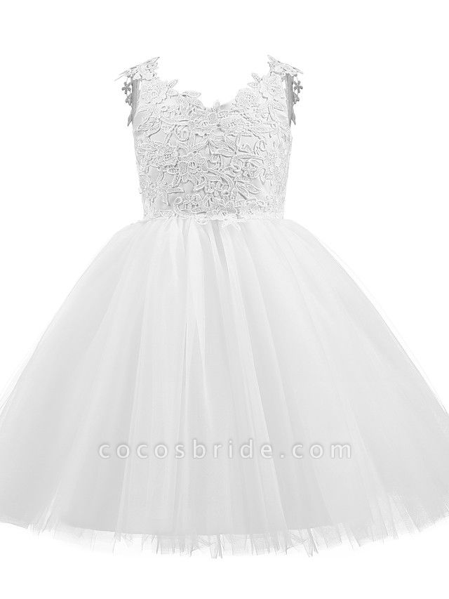 Princess Short Length Wedding / First Communion / Birthday Flower Girl Dresses - Taffeta / Tulle Sleeveless V Neck With Bow(S) / Appliques