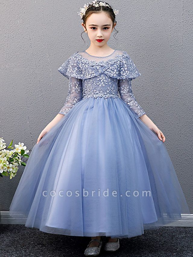 A-Line Ankle Length Christmas / Birthday Flower Girl Dresses - Lace Sleeveless Jewel Neck With Beading