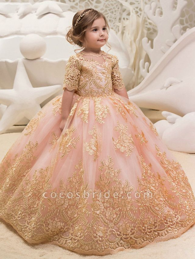 Princess / Ball Gown Floor Length Wedding / Party Flower Girl Dresses - Tulle Half Sleeve Jewel Neck With Bow(S) / Appliques