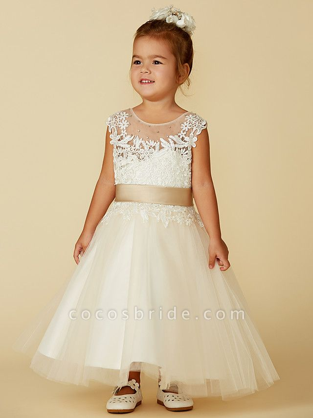 Ball Gown Ankle Length / Knee Length Wedding / Party / Pageant Flower Girl Dresses - Lace / Tulle Sleeveless Jewel Neck With Belt / Buttons / Beading