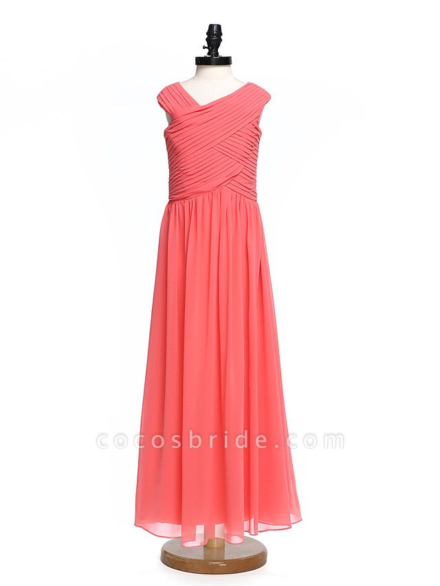 A-Line V Neck Floor Length Chiffon Junior Bridesmaid Dress With Criss Cross / Ruched / Natural