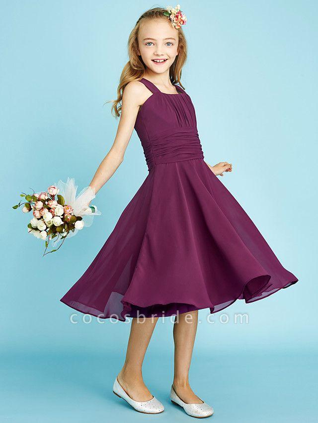 A-Line Straps Knee Length Chiffon Junior Bridesmaid Dress With Sash / Ribbon / Ruched / Draping / Natural