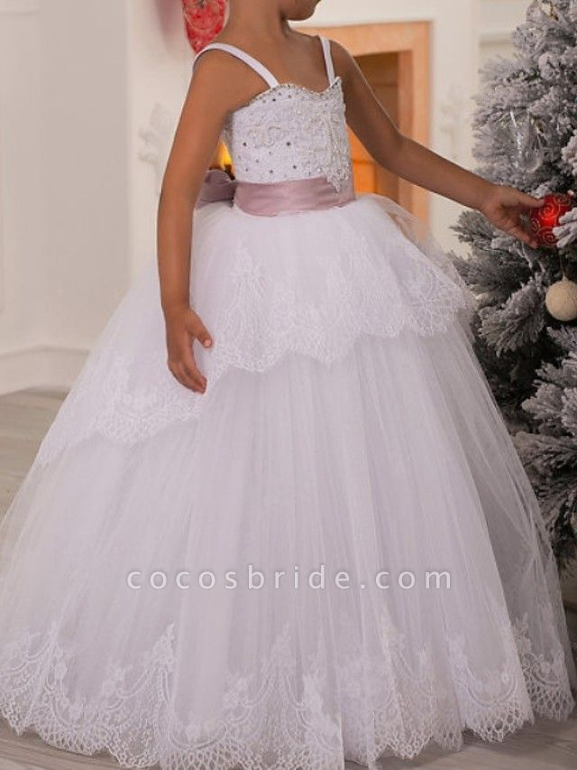 Ball Gown Floor Length First Communion Flower Girl Dresses - Polyester Sleeveless Spaghetti Strap With Lace