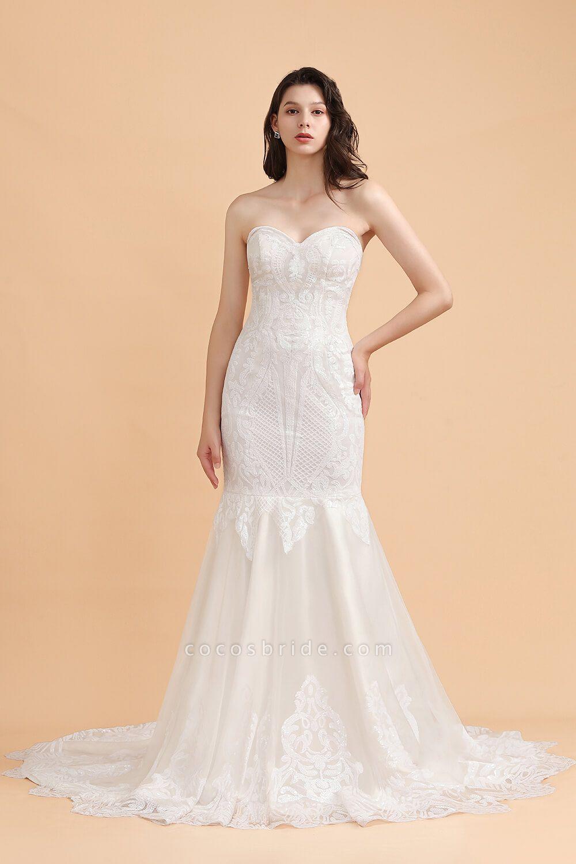 Sparkle Mermaid Sweetheart White Court Train Wedding Dress