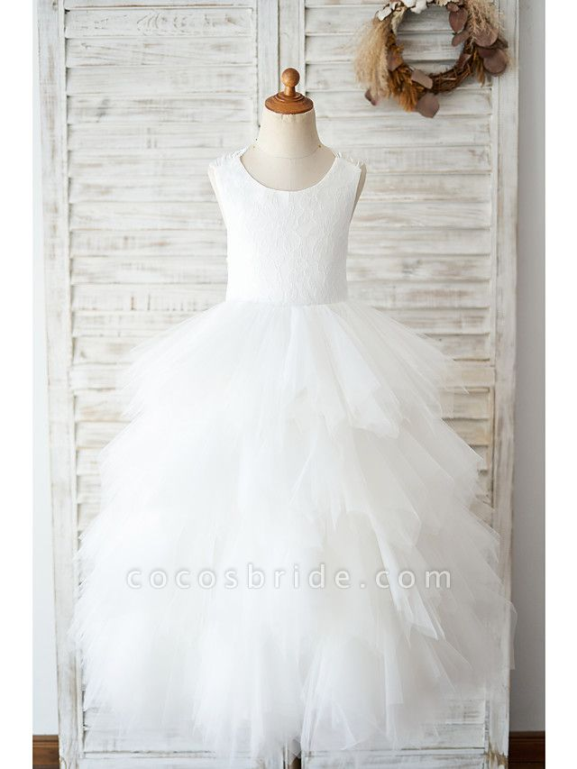 Ball Gown Floor Length Wedding / Birthday Flower Girl Dresses - Lace / Tulle Sleeveless Jewel Neck With Tiered