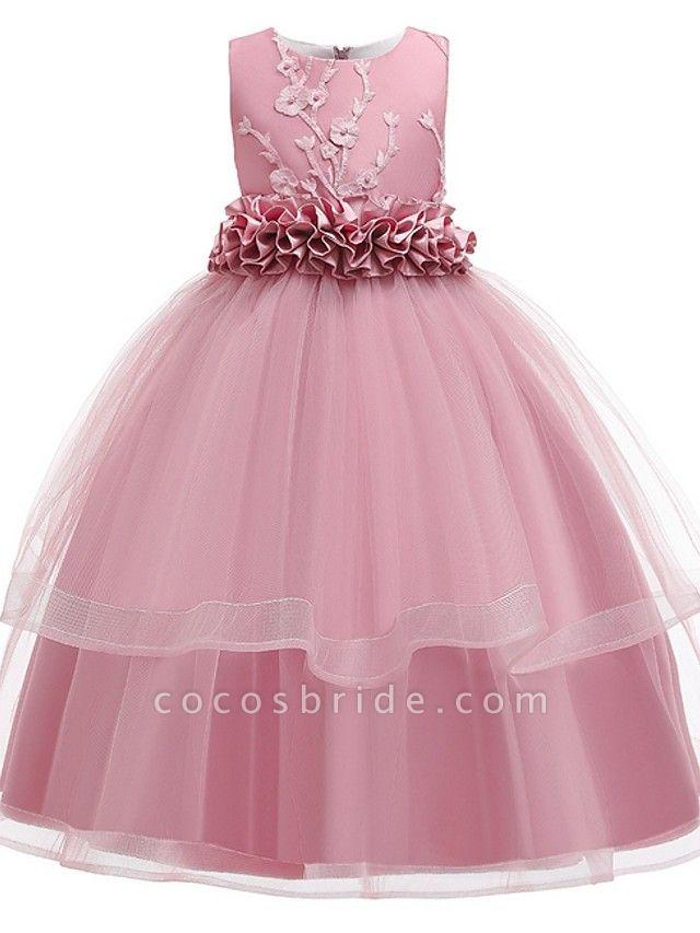 Princess Round Floor Length Cotton Junior Bridesmaid Dress With Bow(S) / Appliques
