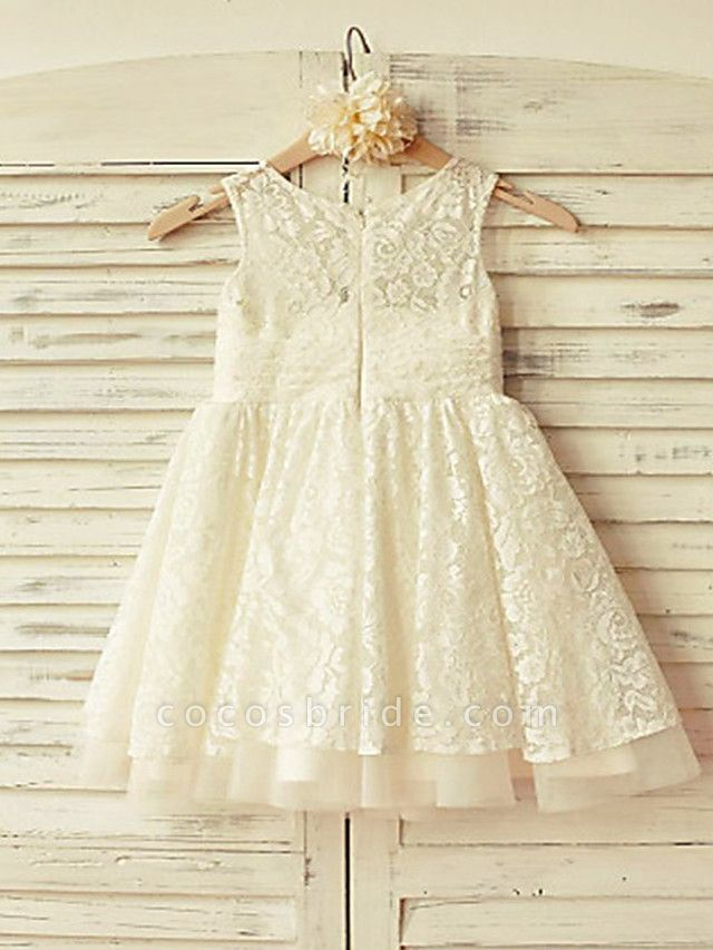 Princess / A-Line Knee Length Wedding / First Communion Flower Girl Dresses - Lace / Tulle Short Sleeve Crew Neck With Pleats
