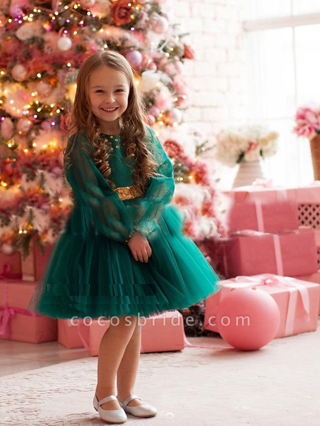 Princess / A-Line Floor Length Party / Birthday Flower Girl Dresses - Tulle Long Sleeve Jewel Neck With Beading / Paillette