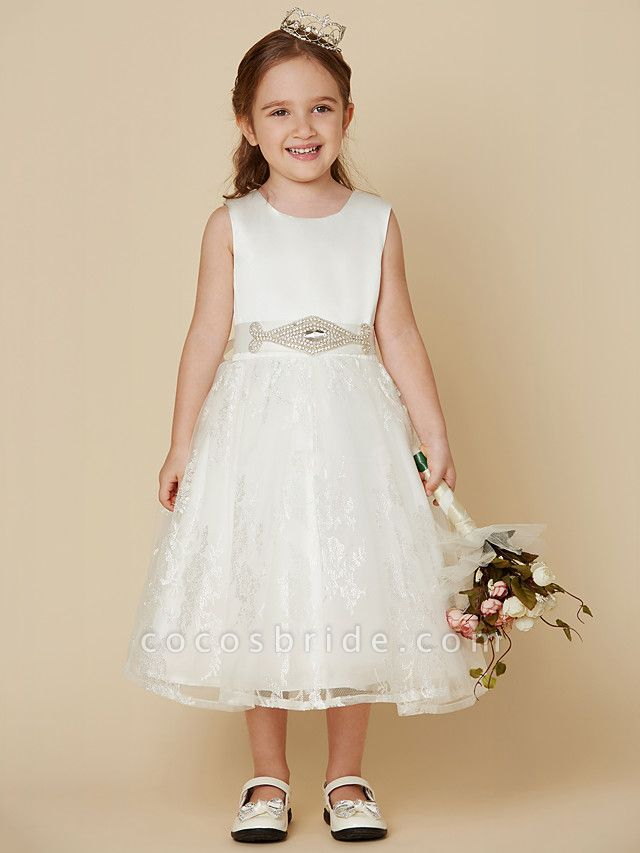 Princess Knee Length Wedding / First Communion Flower Girl Dresses - Lace / Satin Sleeveless Scoop Neck With Sash / Ribbon / Bow(S)