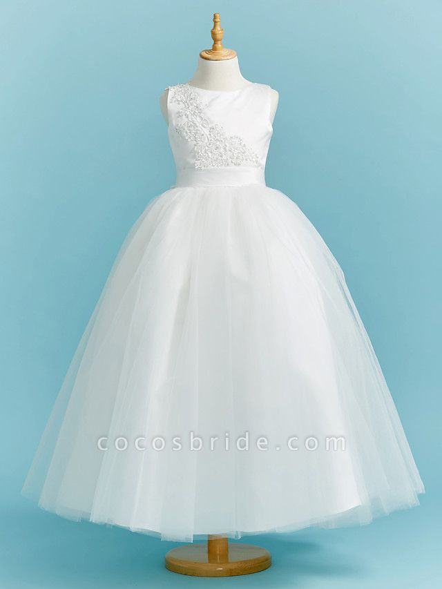 Ball Gown Crew Neck Floor Length Lace / Tulle Junior Bridesmaid Dress With Sash / Ribbon / Pleats / Beading