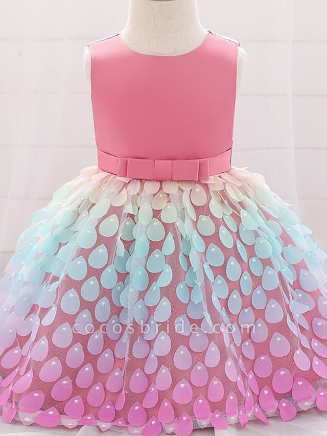 Princess / Ball Gown Knee Length Wedding / Party Flower Girl Dresses - Satin / Tulle Sleeveless Jewel Neck With Sash / Ribbon / Bow(S)