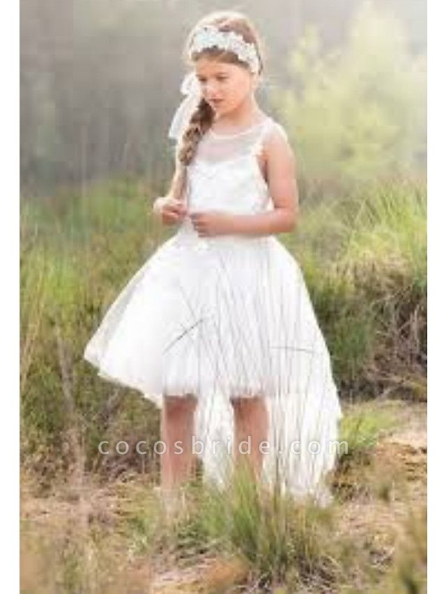 A-Line Asymmetrical Wedding Flower Girl Dresses - Tulle Sleeveless Jewel Neck With Solid