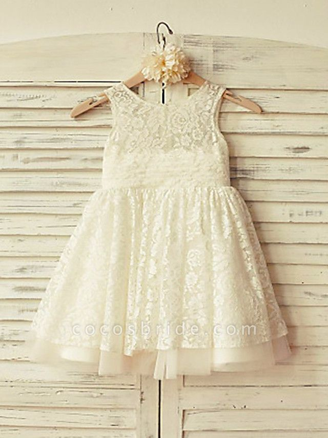 Ball Gown Short / Mini Wedding / Party Flower Girl Dresses - Lace Sleeveless Jewel Neck With Appliques / Solid