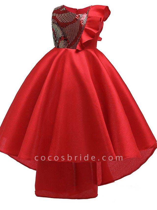 A-Line Round Asymmetrical Cotton Junior Bridesmaid Dress With Bow(S) / Ruffles