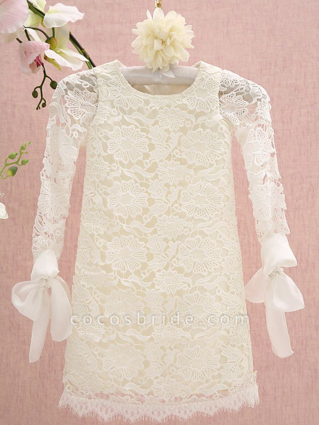 Sheath / Column Knee Length Holiday Flower Girl Dresses - Lace Long Sleeve Jewel Neck With Lace