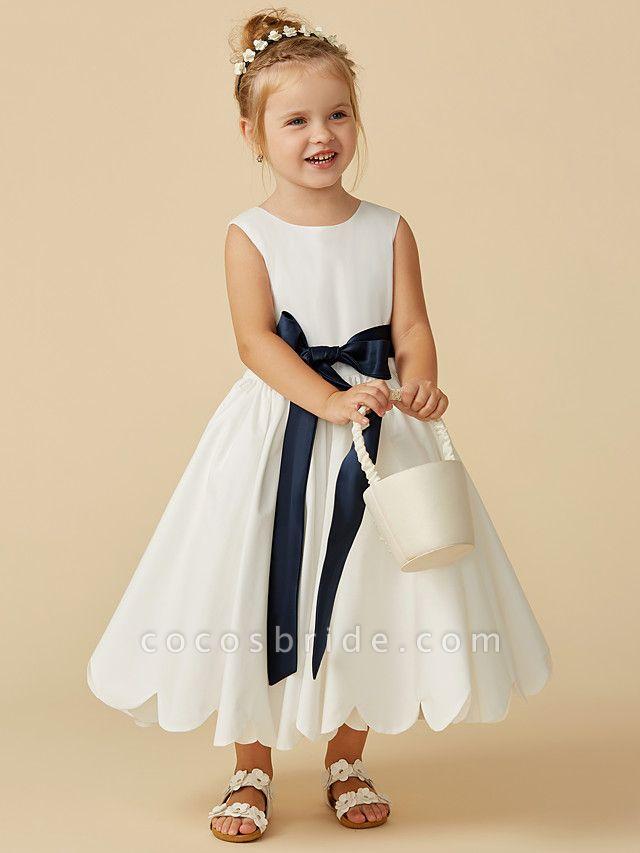 A-Line Tea Length Wedding / First Communion Flower Girl Dresses - Taffeta Sleeveless Jewel Neck With Sash / Ribbon / Pleats
