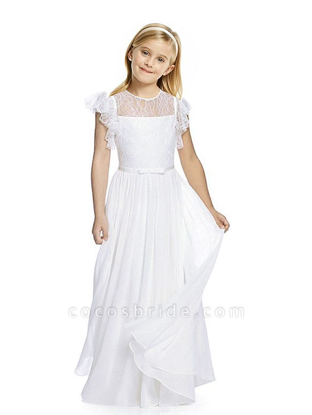 Sheath / Column Long Length Party / Birthday / First Communion Flower Girl Dresses - Chiffon / Lace Short Sleeve Jewel Neck With Lace / Butterfly