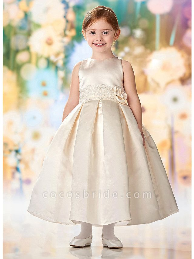 A-Line Floor Length Wedding / Party Flower Girl Dresses - Lace / Satin Cap Sleeve Jewel Neck With Solid