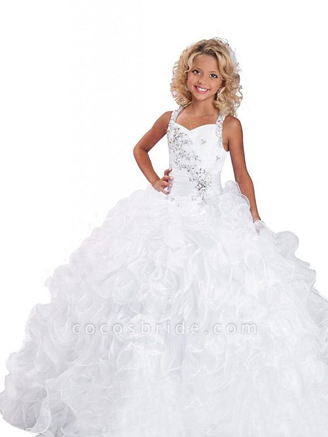 Ball Gown Floor Length Wedding / Party Flower Girl Dresses - Organza Sleeveless Jewel Neck With Tier / Solid