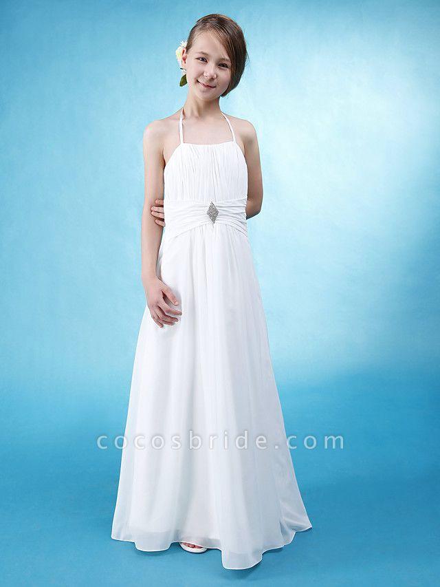 Princess / A-Line Halter Neck Floor Length Chiffon / Satin Junior Bridesmaid Dress With Sash / Ribbon / Ruched / Draping / Spring / Summer / Fall / Wedding Party / Natural
