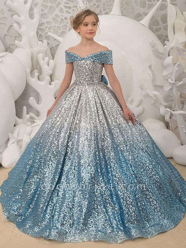 Princess / Ball Gown Sweep / Brush Train Wedding / Party Flower Girl Dresses - Sequined Short Sleeve Off Shoulder With Bow(S) / Pleats