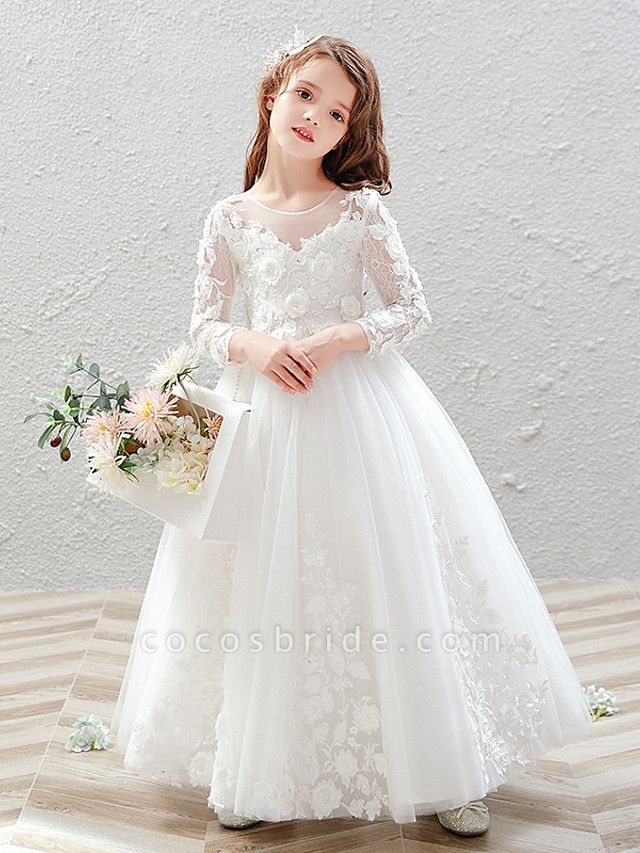 Princess / Ball Gown Ankle Length Wedding / Party Flower Girl Dresses - Tulle 3/4 Length Sleeve Jewel Neck With Pleats / Appliques