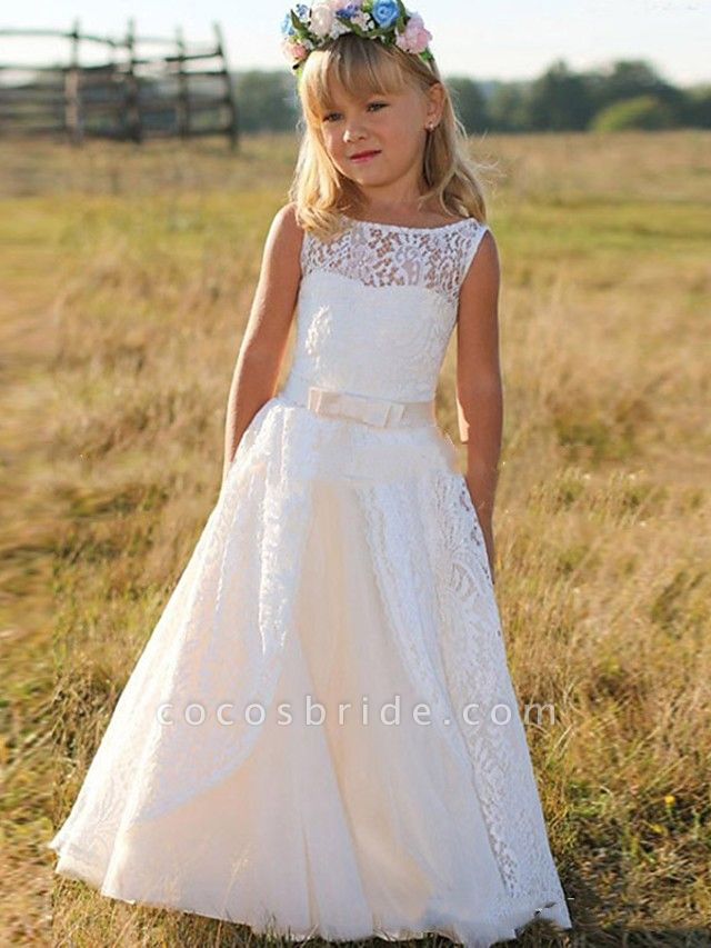 Princess / A-Line Floor Length Wedding / Party Flower Girl Dresses - Lace Sleeveless Jewel Neck With Bow(S)