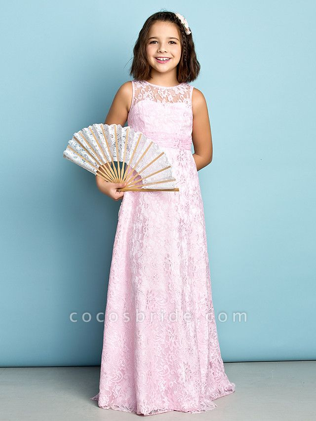 Sheath / Column Jewel Neck Floor Length Lace Junior Bridesmaid Dress With Lace / Natural / Mini Me