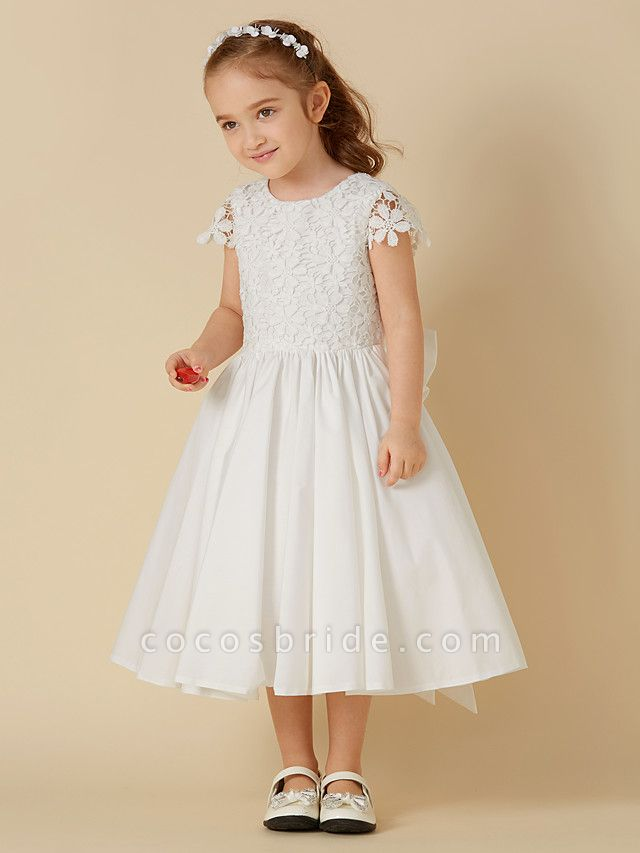A-Line Knee Length Wedding / First Communion Flower Girl Dresses - Lace / Cotton Short Sleeve Scoop Neck With Bow(S)