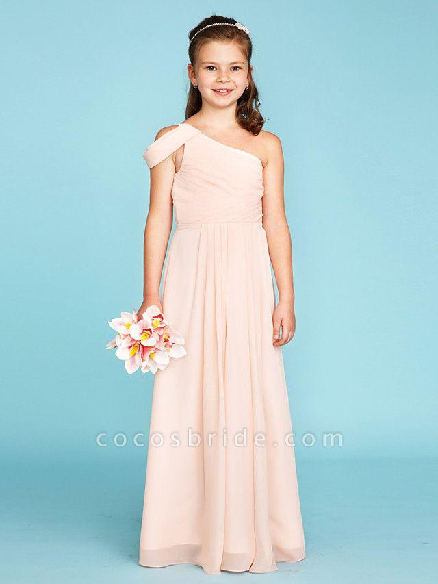 Princess / A-Line One Shoulder Floor Length Chiffon Junior Bridesmaid Dress With Sash / Ribbon / Side Draping / Wedding Party / Open Back