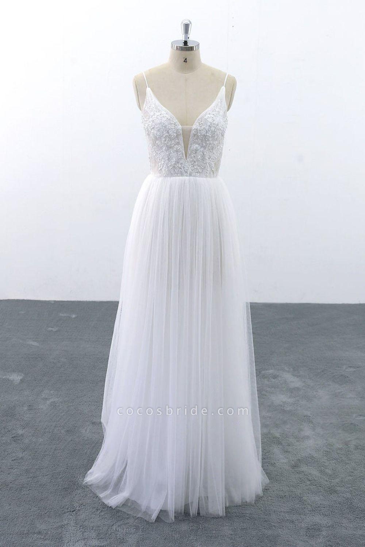 SD1955 Spaghetti Strap Pearls Boho Wedding Dress