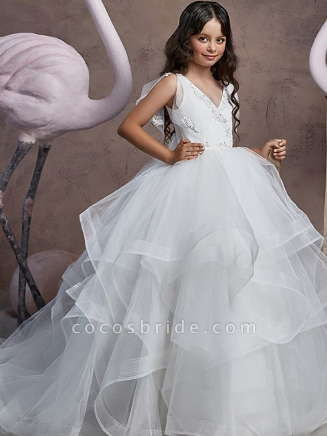 Ball Gown Floor Length Party / Birthday Flower Girl Dresses - Poly Sleeveless V Neck With Embroidery / Solid / Tiered