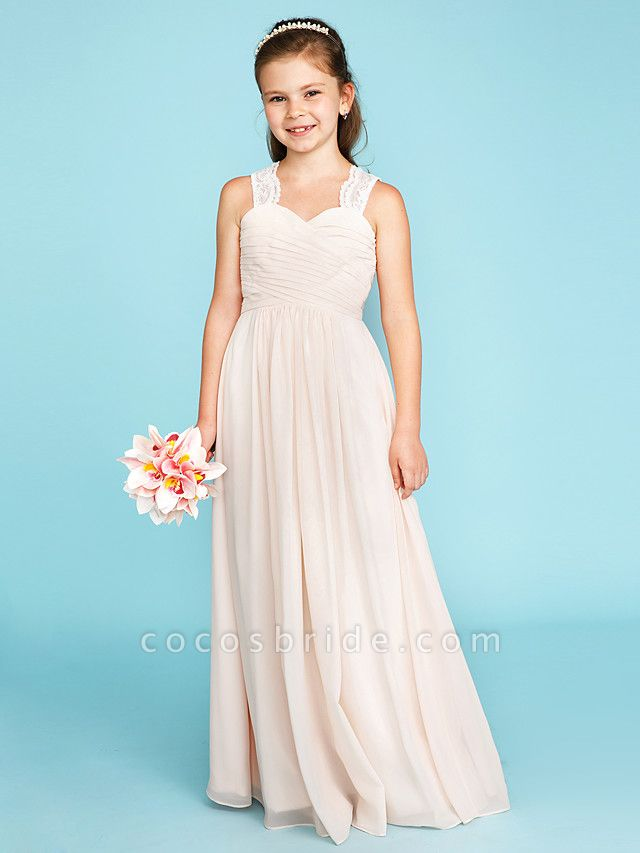 Princess / A-Line Strap Floor Length Chiffon / Lace Junior Bridesmaid Dress With Ruched / Side-Draped / Wedding Party