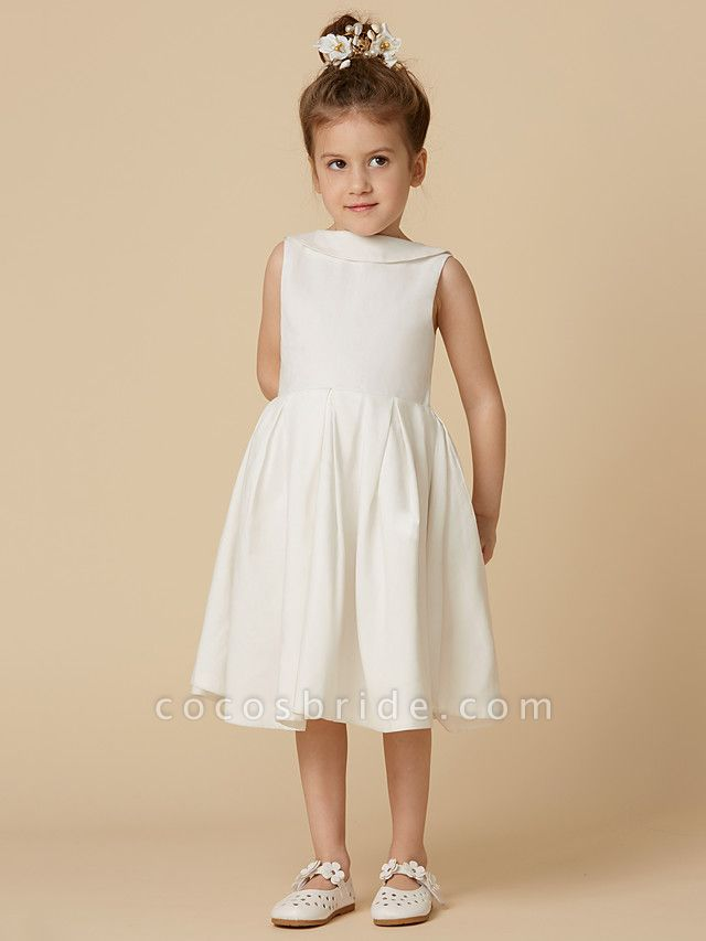 A-Line Knee Length Wedding / First Communion Flower Girl Dresses - Cotton Sleeveless Jewel Neck With Pearls
