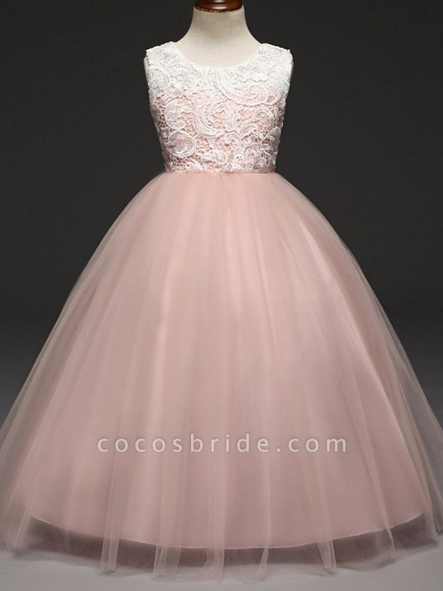 Ball Gown Floor Length Wedding / Party Flower Girl Dresses - Lace / Tulle Sleeveless Jewel Neck With Tiered