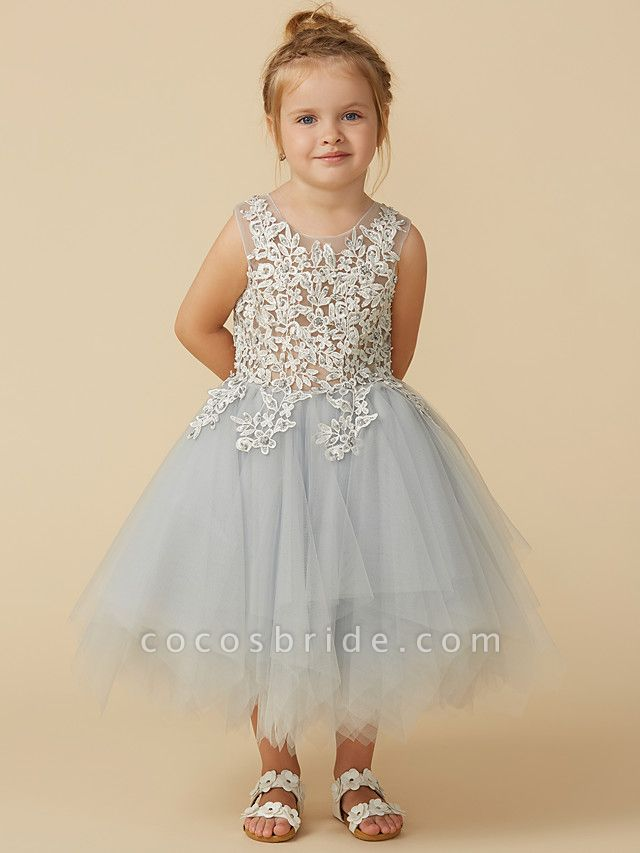 Princess Tea Length Pageant Flower Girl Dresses - Tulle Sleeveless Jewel Neck With Lace / Appliques