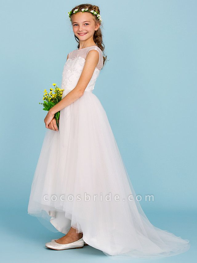 Ball Gown Crew Neck Asymmetrical Tulle Junior Bridesmaid Dress With Beading / Wedding Party / Open Back