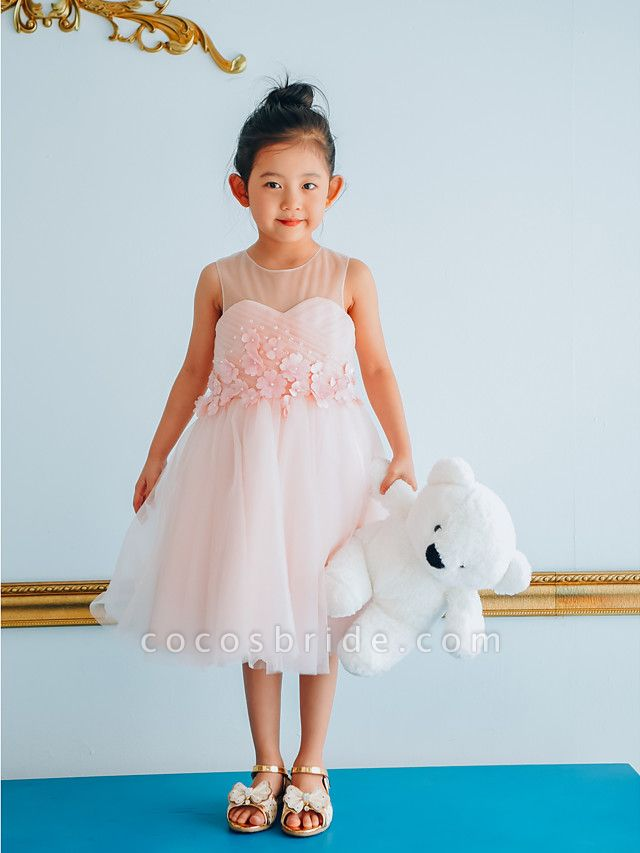 Ball Gown Knee Length Wedding / Birthday / Pageant Flower Girl Dresses - Tulle Sleeveless Jewel Neck With Petal / Pearls