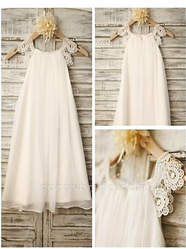 A-Line Tea Length Wedding / Holiday Flower Girl Dresses - Chiffon / Satin Sleeveless Jewel Neck With Lace